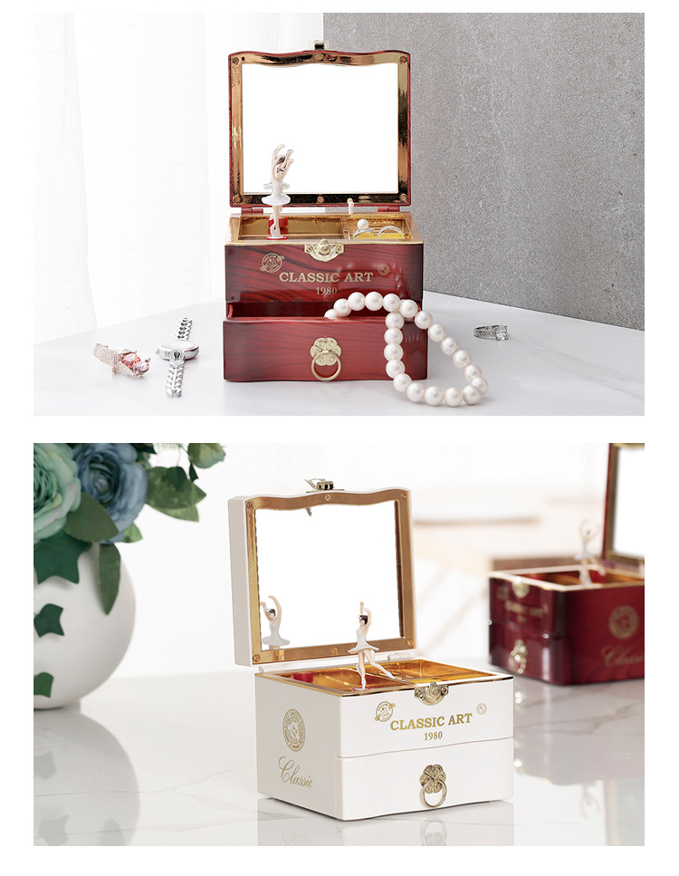 Classical Elegant Violin Quartet Jewelry Box Creative Rotating Dancing Girl Music Box Music Box Boutique 4