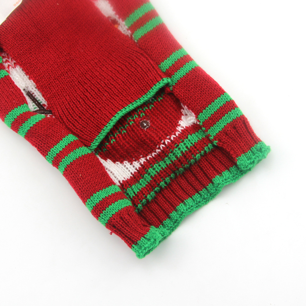 Christmas Pet Clothes Striped Embroidered Snowman New Year Dog Sweater Small And Medium-Sized Dog Fall Winter Clothing 5