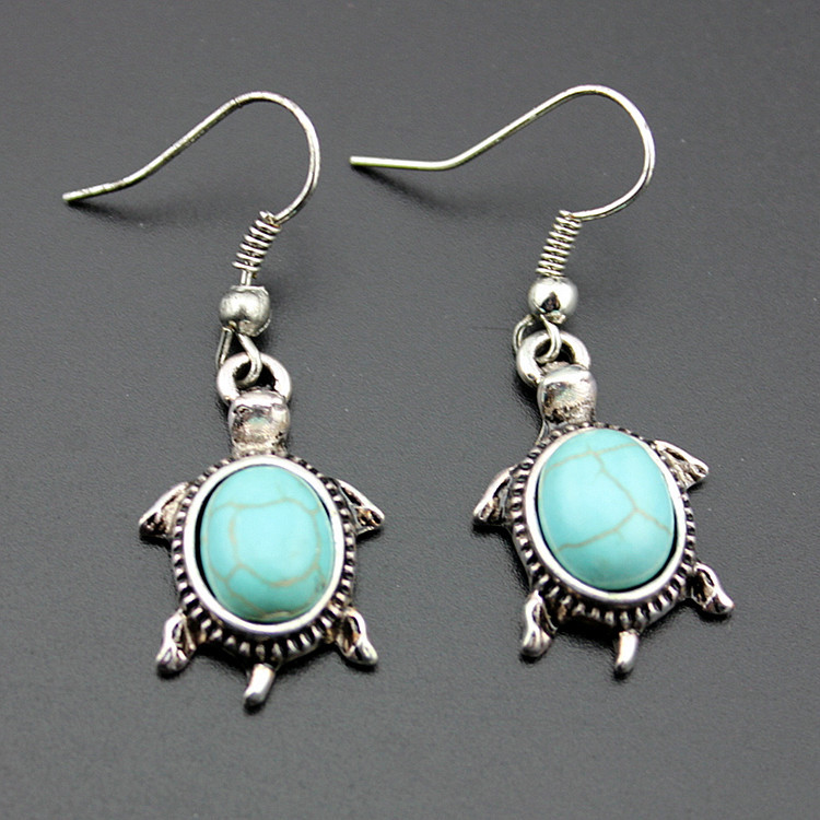 Natural Turquoise Tortoise Necklace and Earrings Set Turtle Alloy Necklace and Earrings Two-piece Set 2