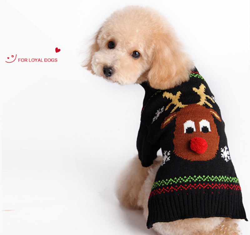 Christmas Pet Sweater Red Nosed Deer Cat And Dog Clothes Winter Clothes Teddy VIP Autumn And Winter Clothes 0