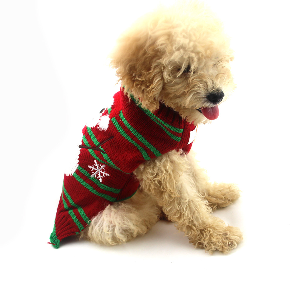 Christmas Pet Clothes Striped Embroidered Snowman New Year Dog Sweater Small And Medium-Sized Dog Fall Winter Clothing 1