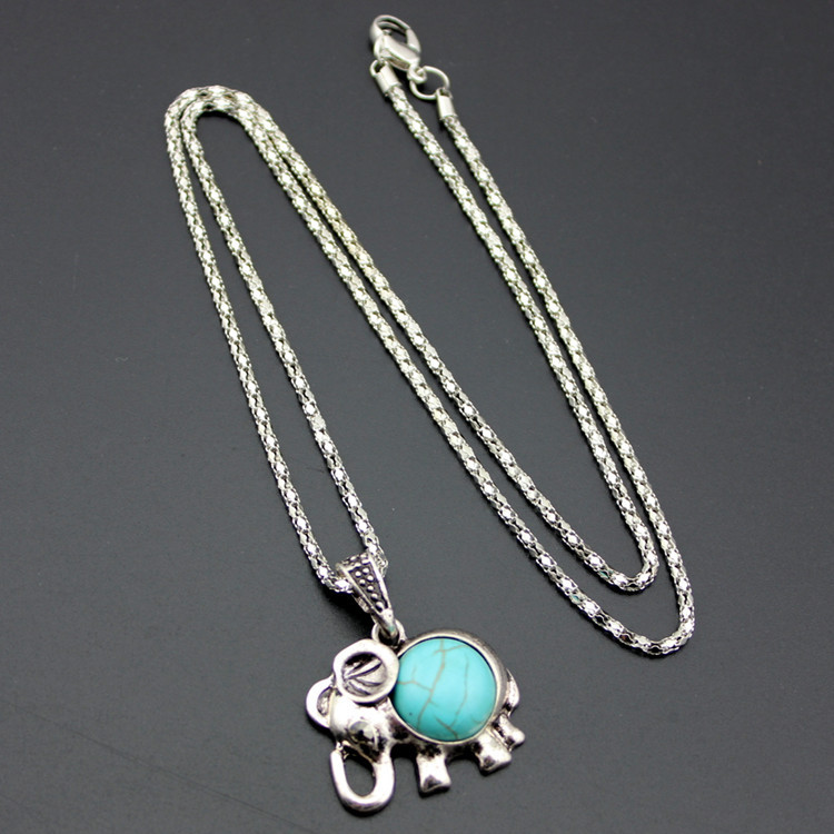 Alloy Elephant Necklace And Earrings Two Piece Set Turquoise Necklace Set Ornament 2