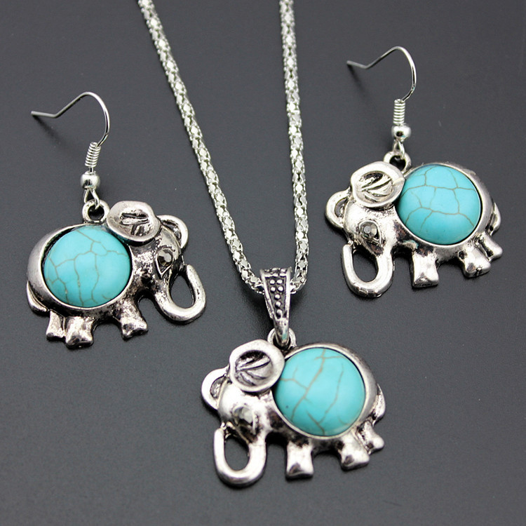 Alloy Elephant Necklace And Earrings Two Piece Set Turquoise Necklace Set Ornament 1