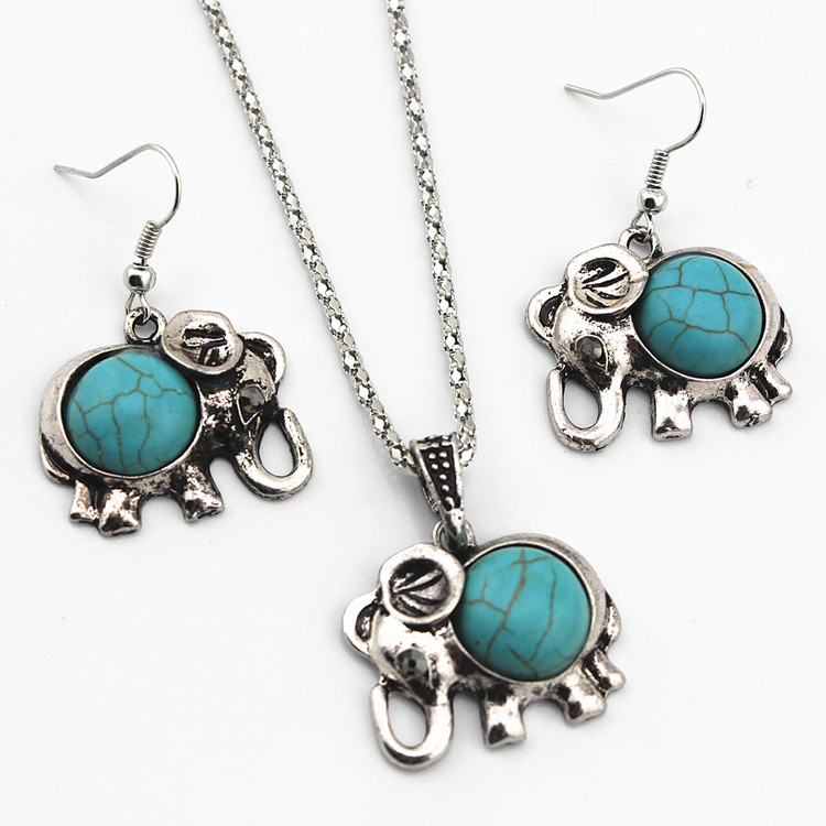 Alloy Elephant Necklace And Earrings Two Piece Set Turquoise Necklace Set Ornament 0