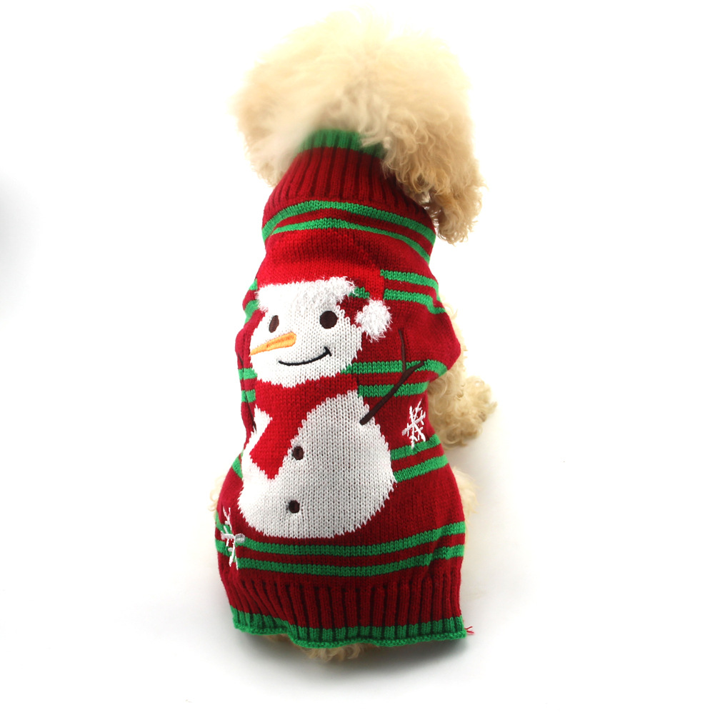 Christmas Pet Clothes Striped Embroidered Snowman New Year Dog Sweater Small And Medium-Sized Dog Fall Winter Clothing 0