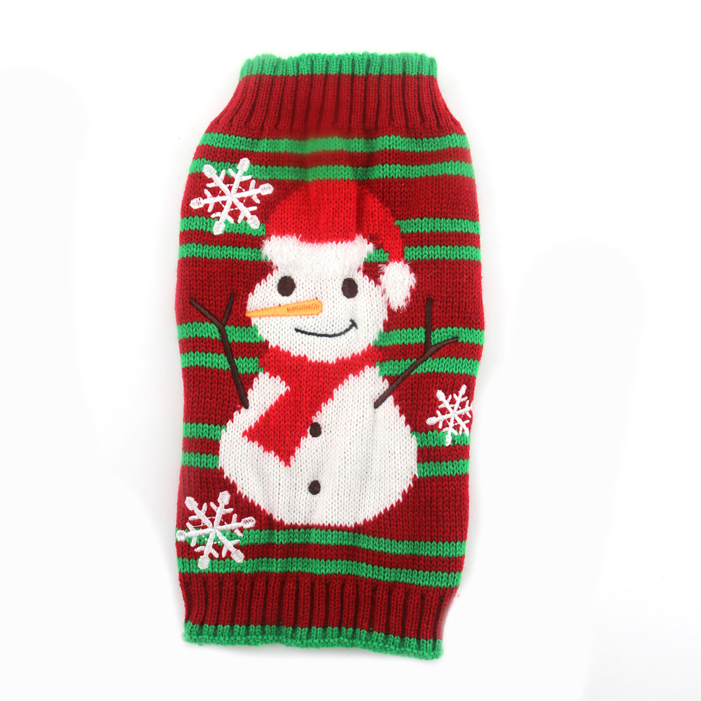 Christmas Pet Clothes Striped Embroidered Snowman New Year Dog Sweater Small And Medium-Sized Dog Fall Winter Clothing 3