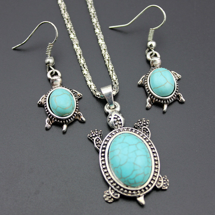 Natural Turquoise Tortoise Necklace and Earrings Set Turtle Alloy Necklace and Earrings Two-piece Set 1