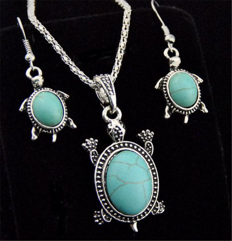 Natural Turquoise Tortoise Necklace and Earrings Set Turtle Alloy Necklace and Earrings Two-piece Set 4