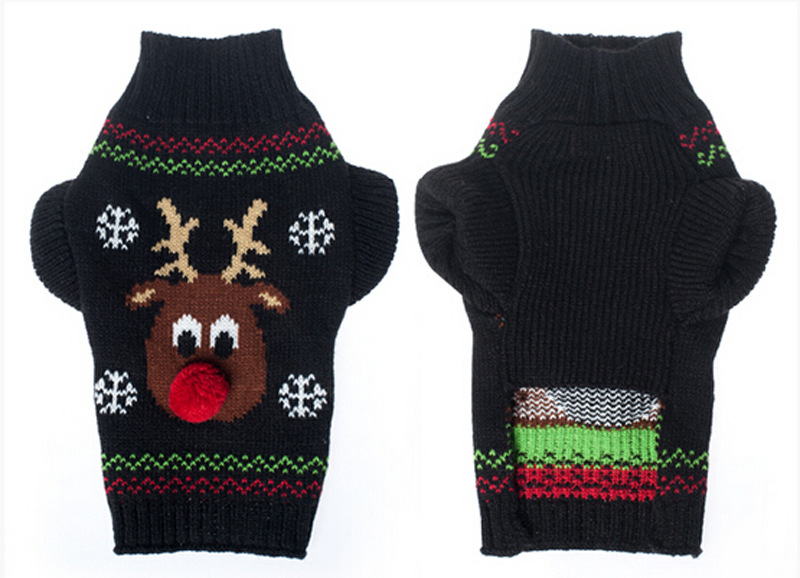 Christmas Pet Sweater Red Nosed Deer Cat And Dog Clothes Winter Clothes Teddy VIP Autumn And Winter Clothes 2