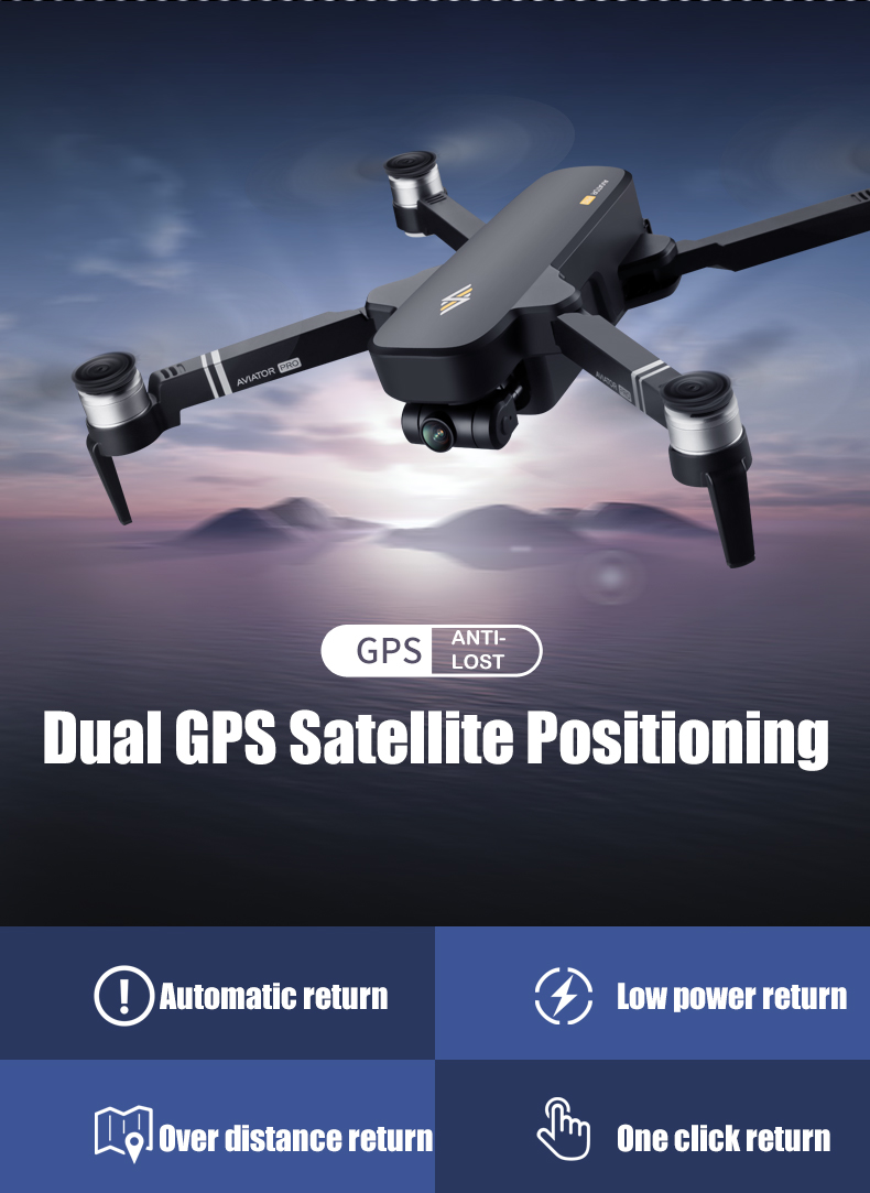 AVIATOR PRO Smart Photographer 5G GPS Drone with 6K Pixel Wide-angle Adjustable Camera  0