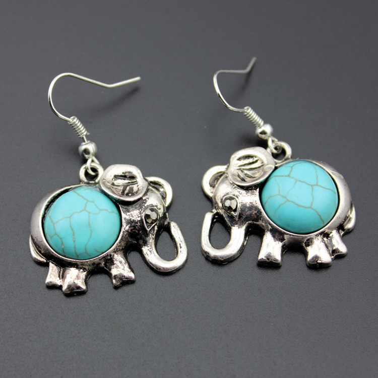 Alloy Elephant Necklace And Earrings Two Piece Set Turquoise Necklace Set Ornament 3