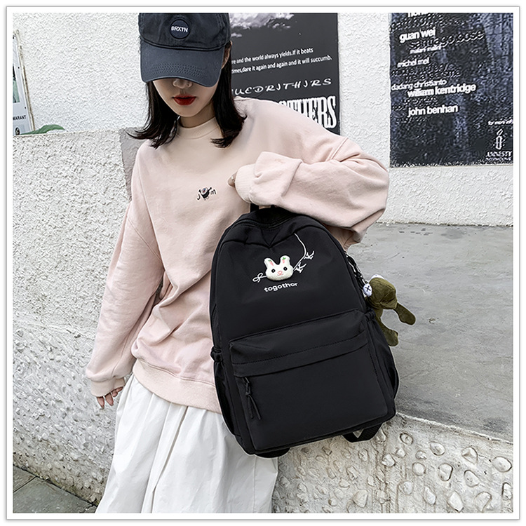 2020 Winter Nylon Solid Color Waterproof  Wear-Resistant Backpack Large Capacity Fashion Casual Bag Student School Bag 5
