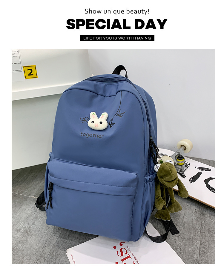 2020 Winter Nylon Solid Color Waterproof  Wear-Resistant Backpack Large Capacity Fashion Casual Bag Student School Bag 7