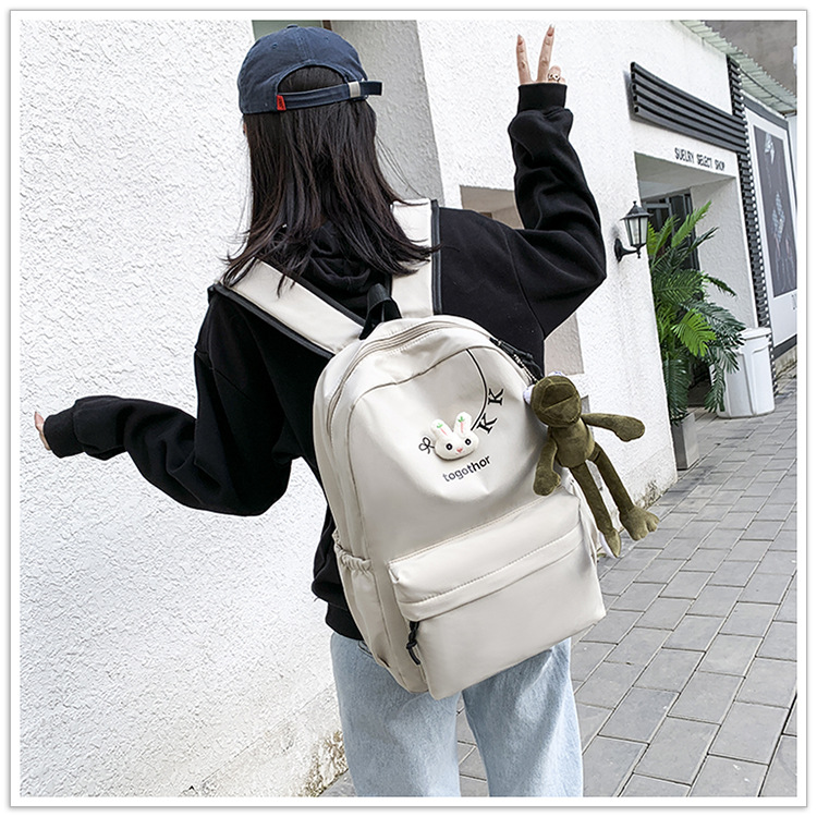 2020 Winter Nylon Solid Color Waterproof  Wear-Resistant Backpack Large Capacity Fashion Casual Bag Student School Bag 3