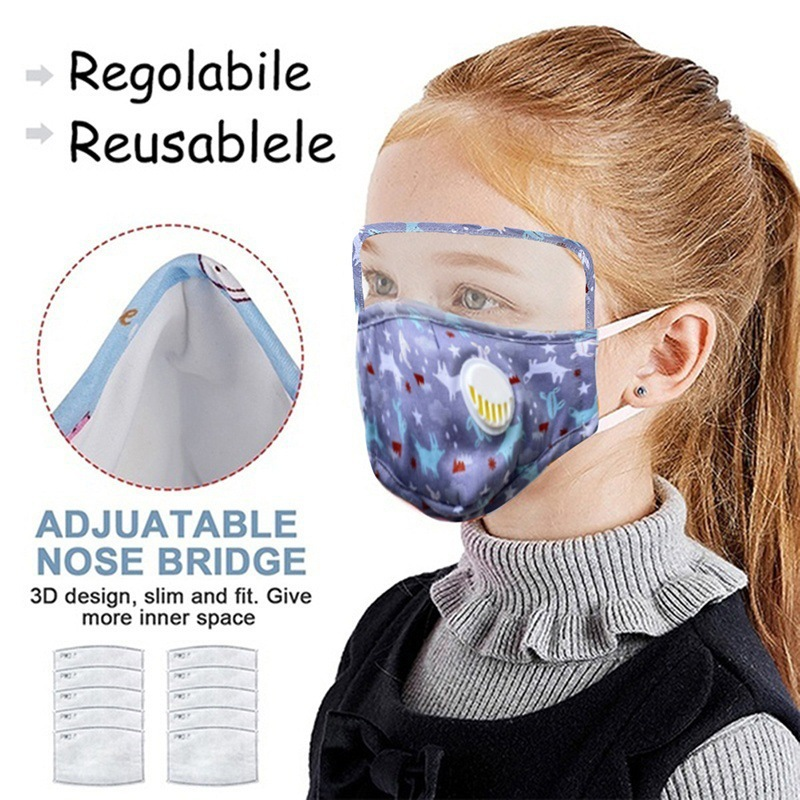 Protective  Pure Cotton Mask Children Cartoon Printed One-piece Transparent PET Oil-proof Cotton Mask For Epidemic Prevention MOQ 10pc 1