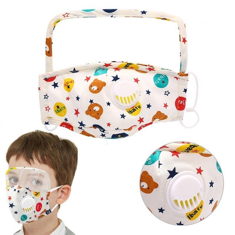 Protective  Pure Cotton Mask Children Cartoon Printed One-piece Transparent PET Oil-proof Cotton Mask For Epidemic Prevention MOQ 10pc 5