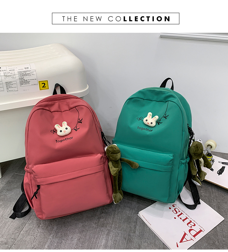 2020 Winter Nylon Solid Color Waterproof  Wear-Resistant Backpack Large Capacity Fashion Casual Bag Student School Bag 9
