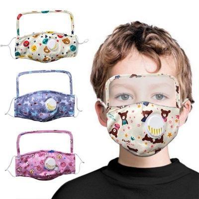 Protective  Pure Cotton Mask Children Cartoon Printed One-piece Transparent PET Oil-proof Cotton Mask For Epidemic Prevention MOQ 10pc 0