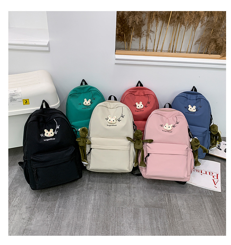 2020 Winter Nylon Solid Color Waterproof  Wear-Resistant Backpack Large Capacity Fashion Casual Bag Student School Bag 10