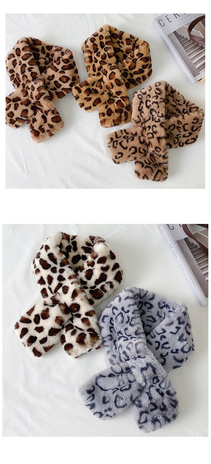 Fashionable Warm Collar Winter Leopard Print Cross Collar For Ladies 2
