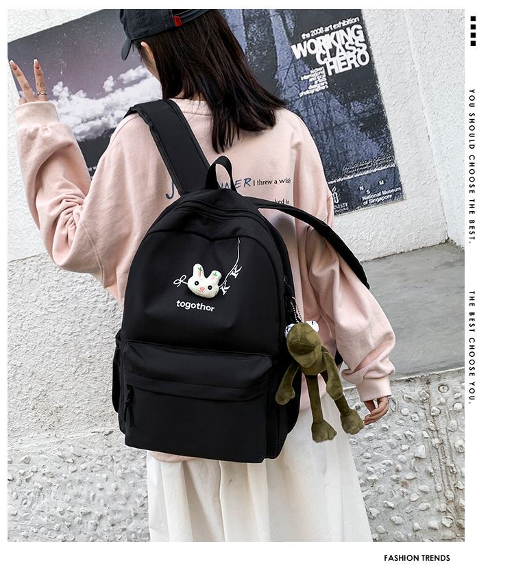2020 Winter Nylon Solid Color Waterproof  Wear-Resistant Backpack Large Capacity Fashion Casual Bag Student School Bag 0