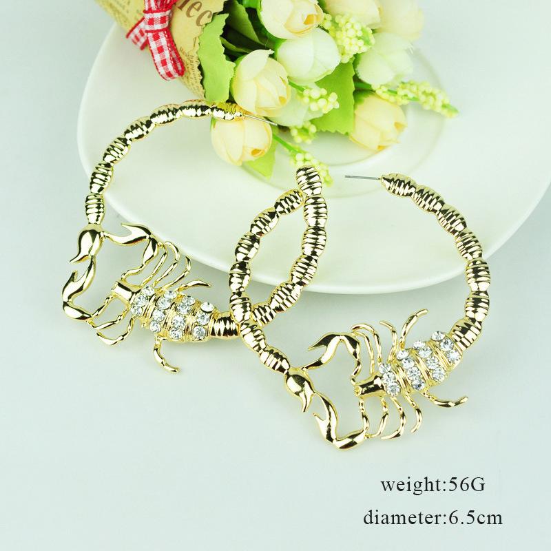Stylish Environmentally Friendly Alloy Diamond-studded Scorpion Earring For Ladies 3
