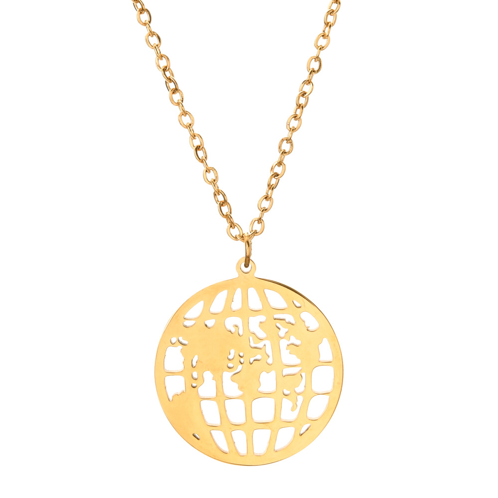 Round Hollow World Map Globe Stainless Steel Necklace Fashion Trendy Ornament For Girls 6
