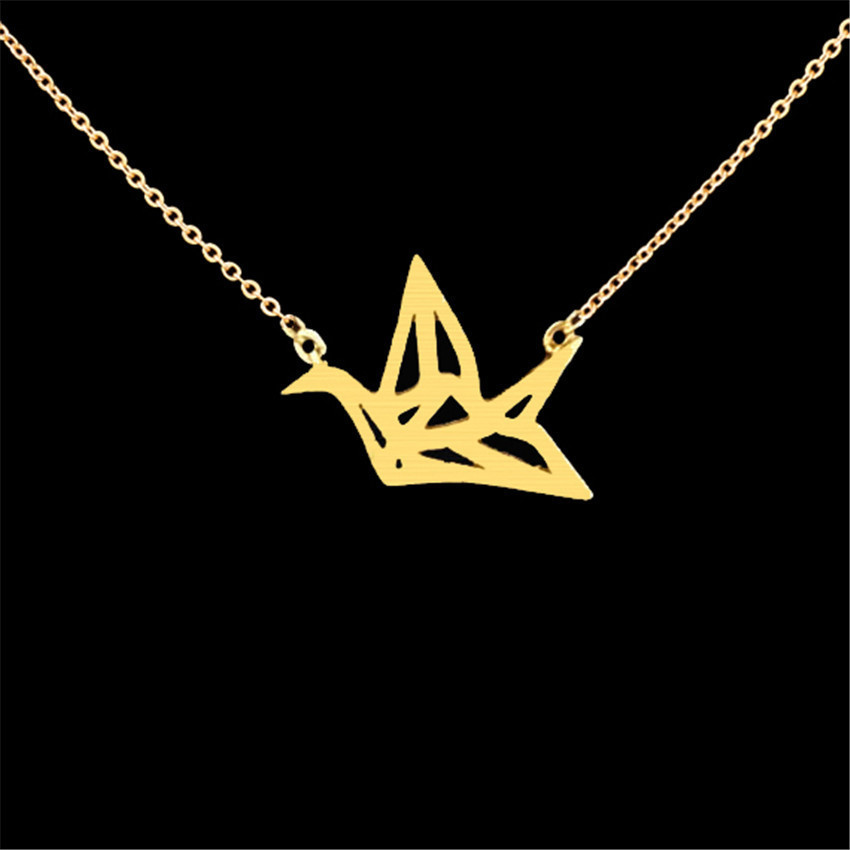 Creative Stainless Steel Hollow Paper Crane Necklace Accessories Romantic Necklace Jewelry For Ladies 3