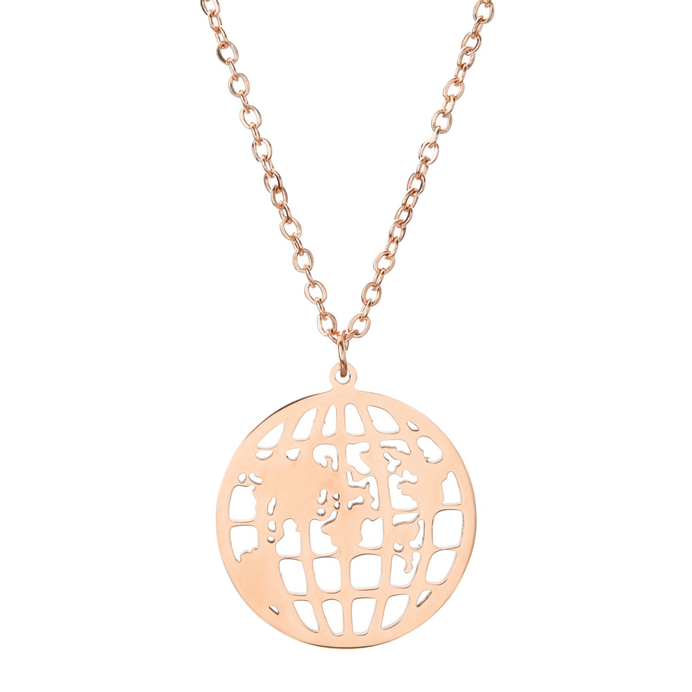 Round Hollow World Map Globe Stainless Steel Necklace Fashion Trendy Ornament For Girls 7