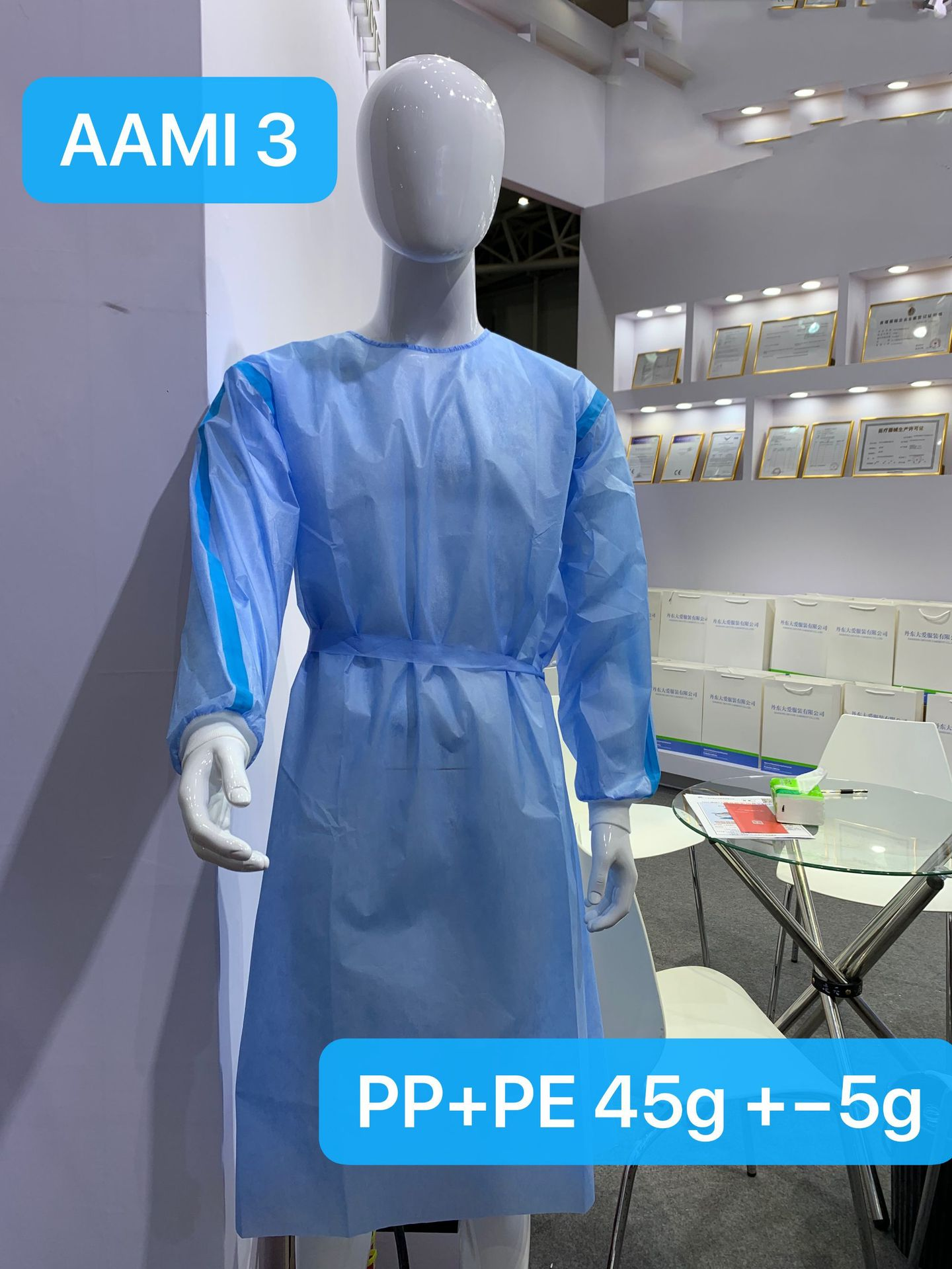 AMMI Level4-level1 Isolation Gown CE FDA 510K SGS SMS Coat Style Surgical Gown 2