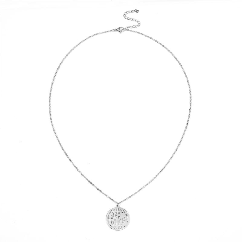 Round Hollow World Map Globe Stainless Steel Necklace Fashion Trendy Ornament For Girls 4