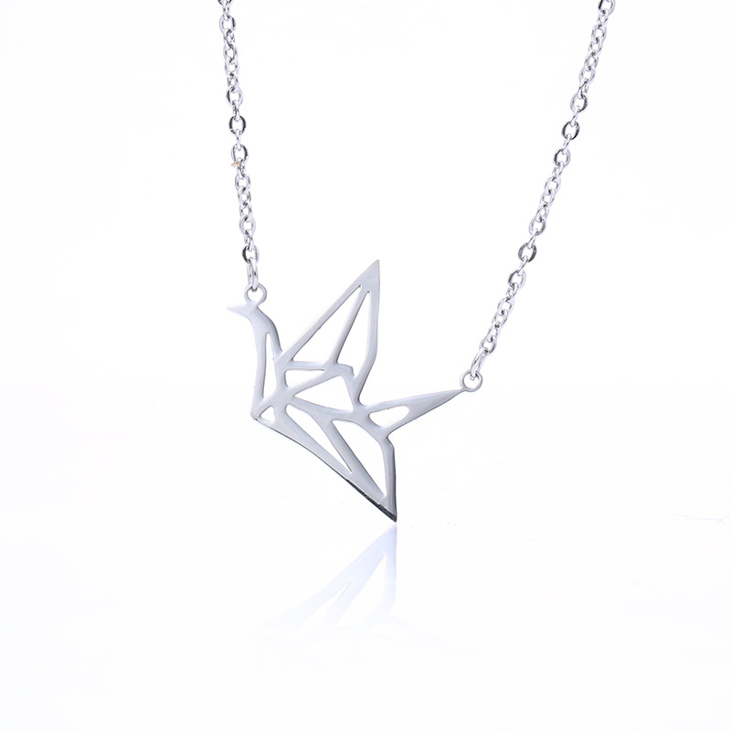 Creative Stainless Steel Hollow Paper Crane Necklace Accessories Romantic Necklace Jewelry For Ladies 5