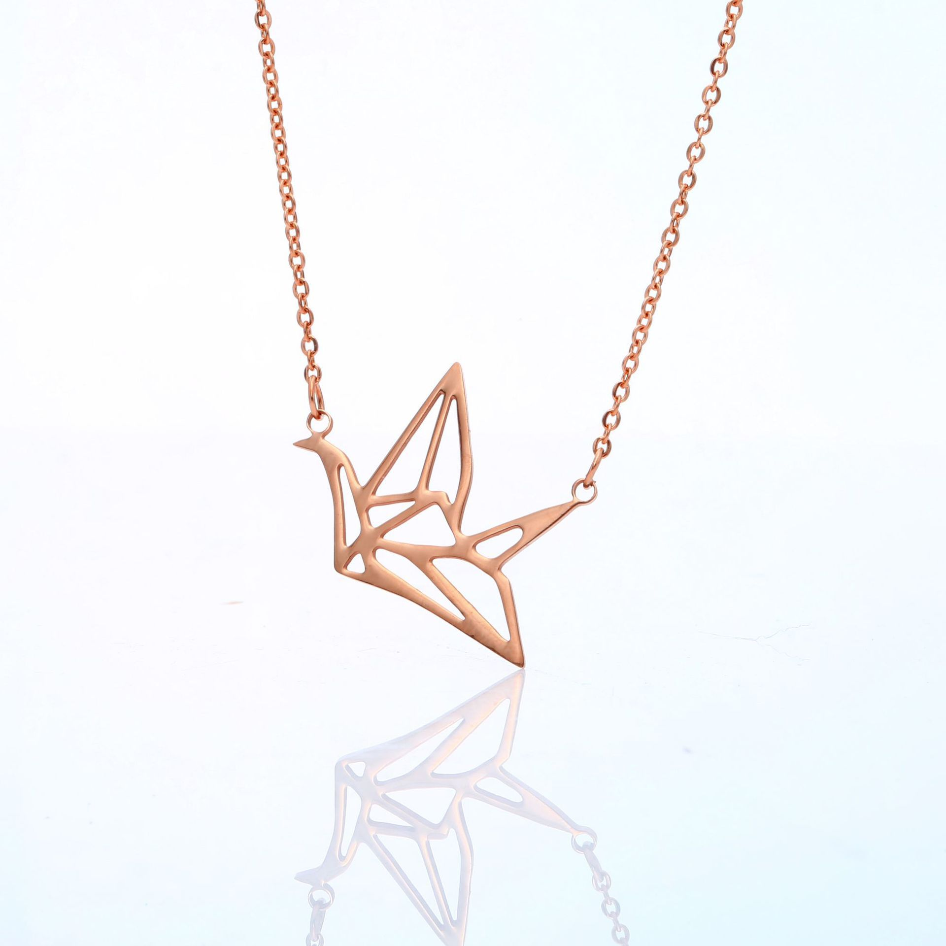 Creative Stainless Steel Hollow Paper Crane Necklace Accessories Romantic Necklace Jewelry For Ladies 6