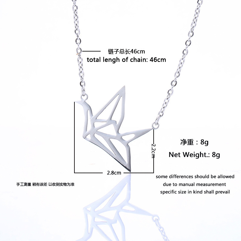 Creative Stainless Steel Hollow Paper Crane Necklace Accessories Romantic Necklace Jewelry For Ladies 1