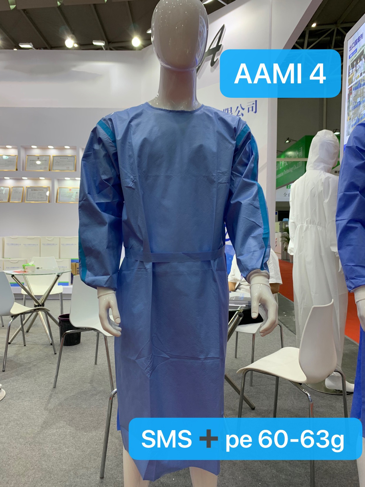 AMMI Level4-level1 Isolation Gown CE FDA 510K SGS SMS Coat Style Surgical Gown 3
