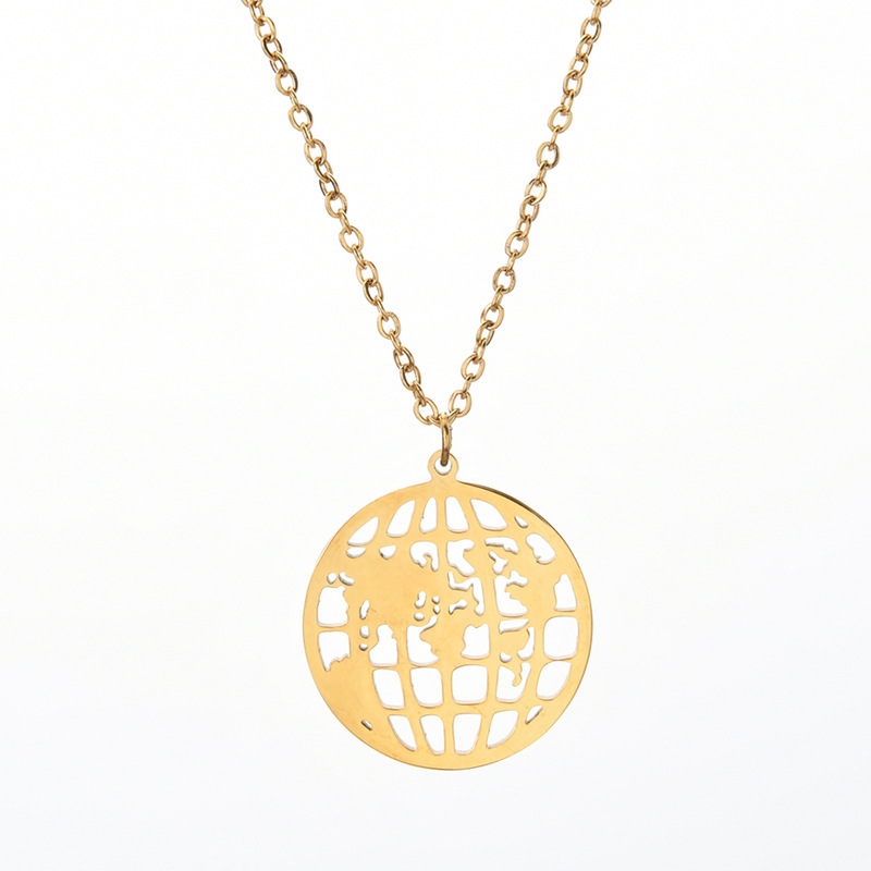 Round Hollow World Map Globe Stainless Steel Necklace Fashion Trendy Ornament For Girls 2