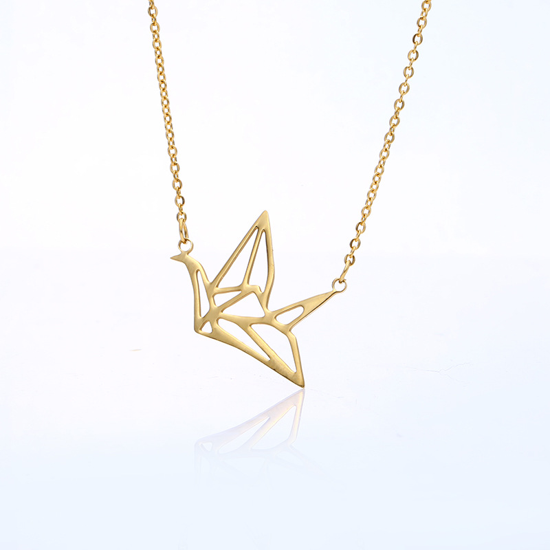 Creative Stainless Steel Hollow Paper Crane Necklace Accessories Romantic Necklace Jewelry For Ladies 4