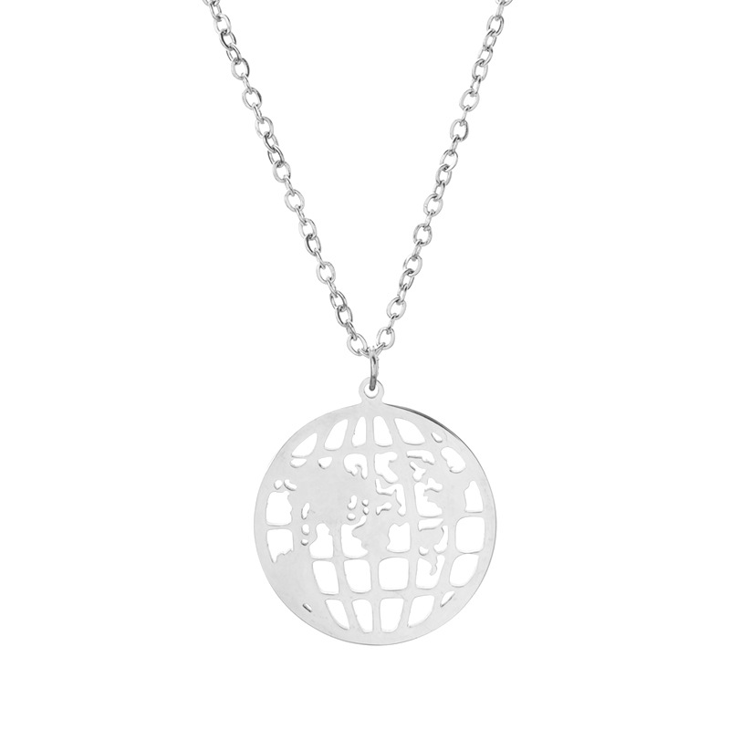 Round Hollow World Map Globe Stainless Steel Necklace Fashion Trendy Ornament For Girls 1