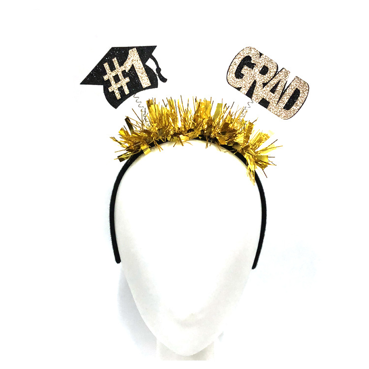 Graduation Hair Accessories Mini Cap GRAD Letter Headband Student Headwear 0