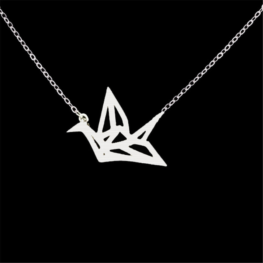 Creative Stainless Steel Hollow Paper Crane Necklace Accessories Romantic Necklace Jewelry For Ladies 2