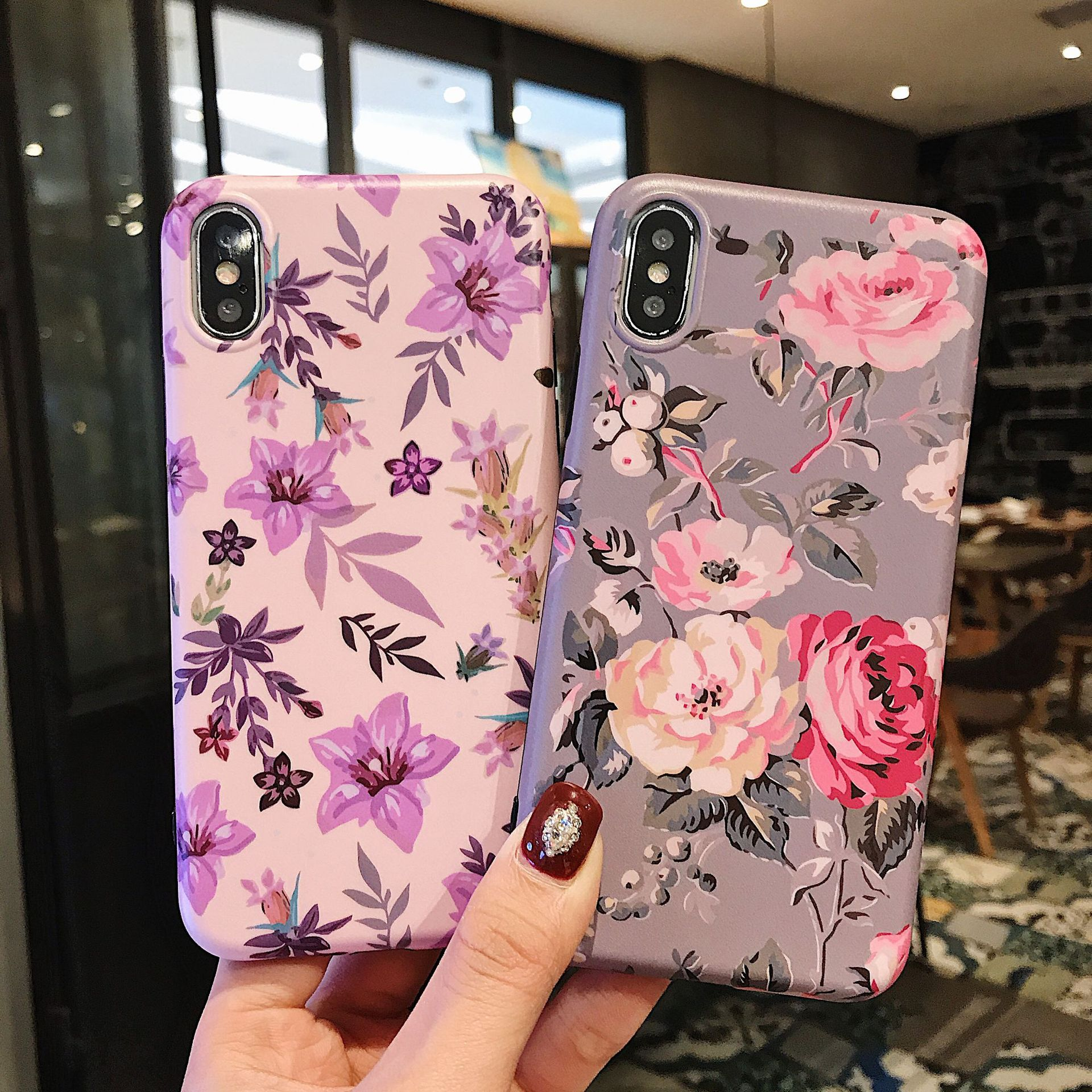 Classic Retro Flower Series Lmd Craft Anti-falling Edge TPU Soft Shell Mobile Phone Protective Cover For Iphone 5