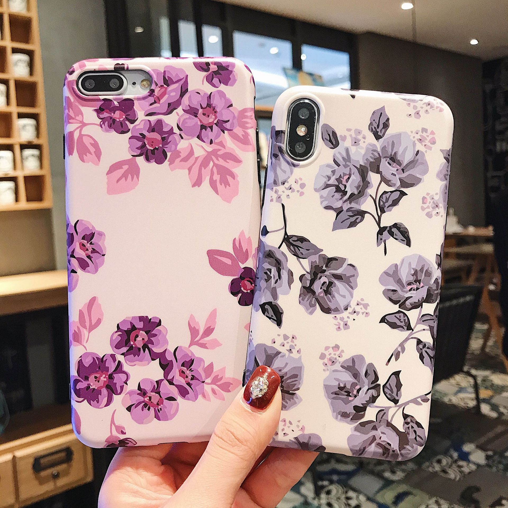 Classic Retro Flower Series Lmd Craft Anti-falling Edge TPU Soft Shell Mobile Phone Protective Cover For Iphone 4