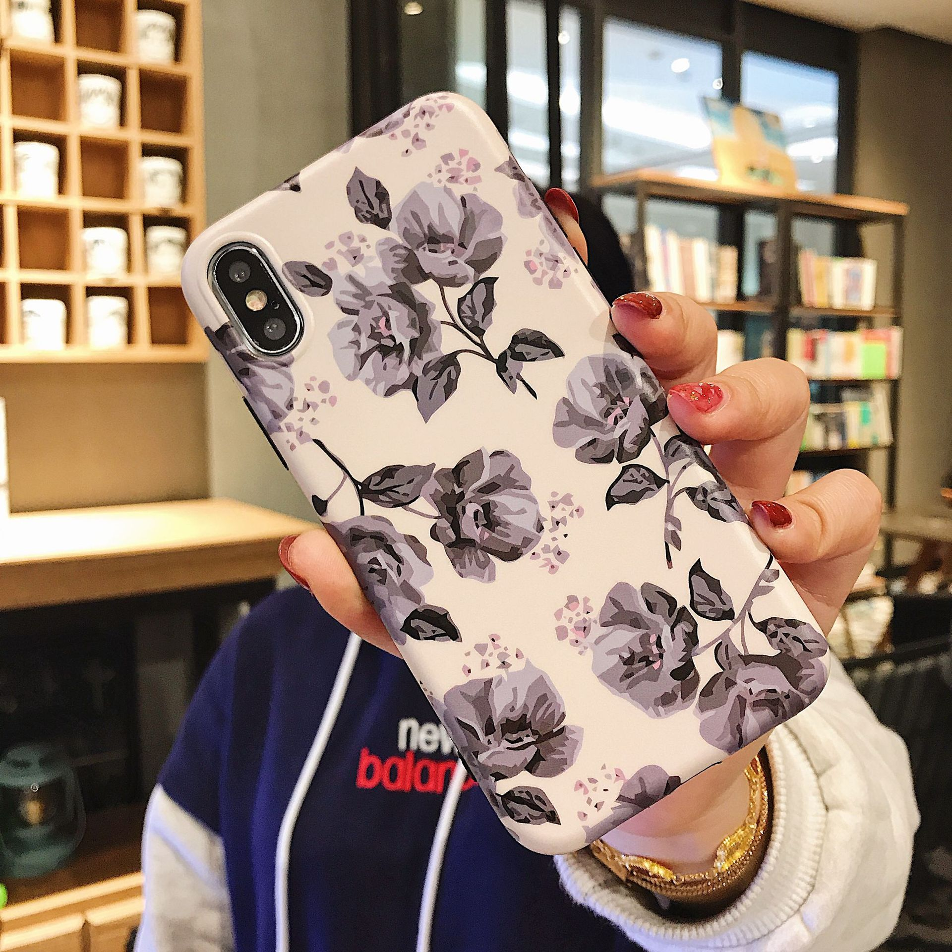 Classic Retro Flower Series Lmd Craft Anti-falling Edge TPU Soft Shell Mobile Phone Protective Cover For Iphone 1