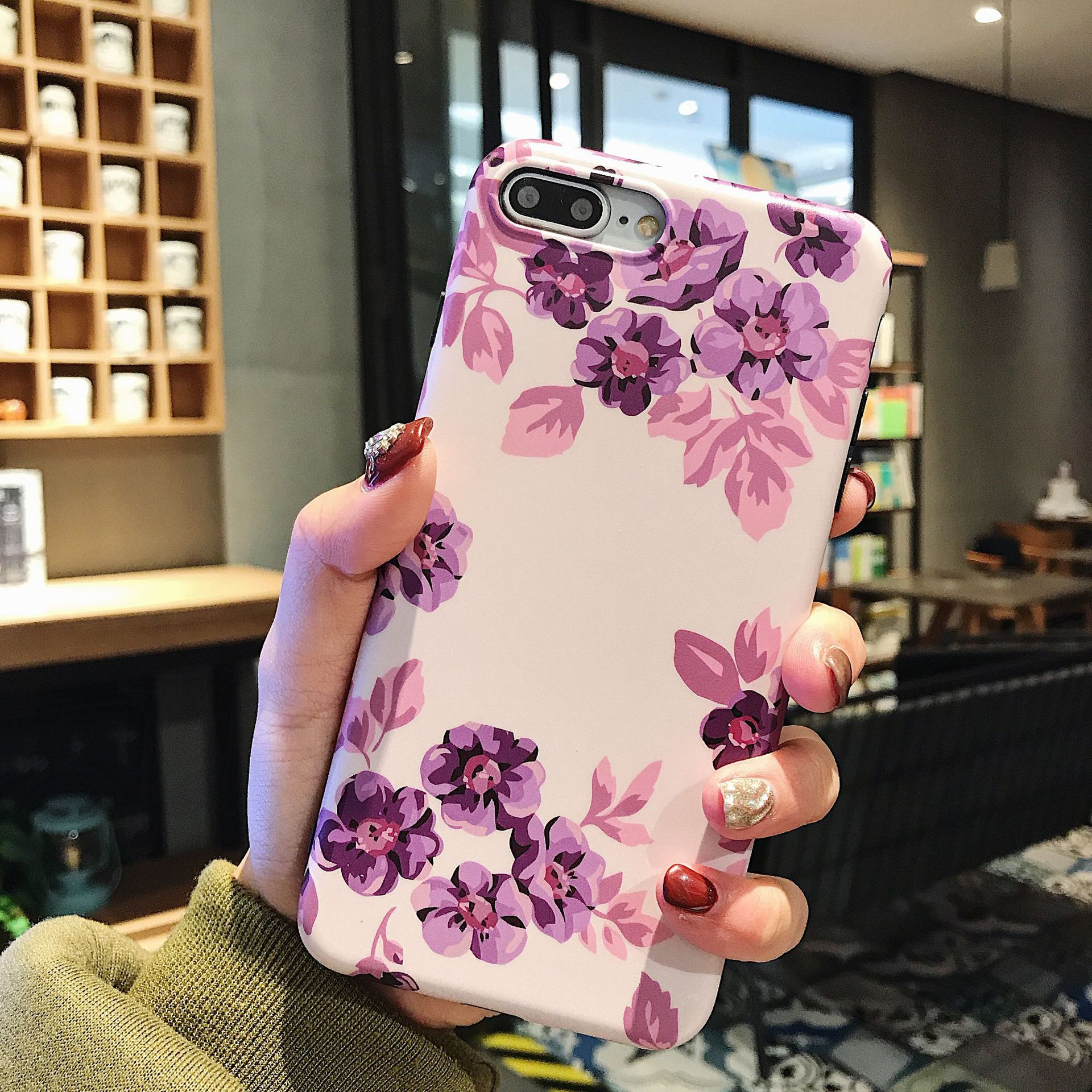 Classic Retro Flower Series Lmd Craft Anti-falling Edge TPU Soft Shell Mobile Phone Protective Cover For Iphone 0