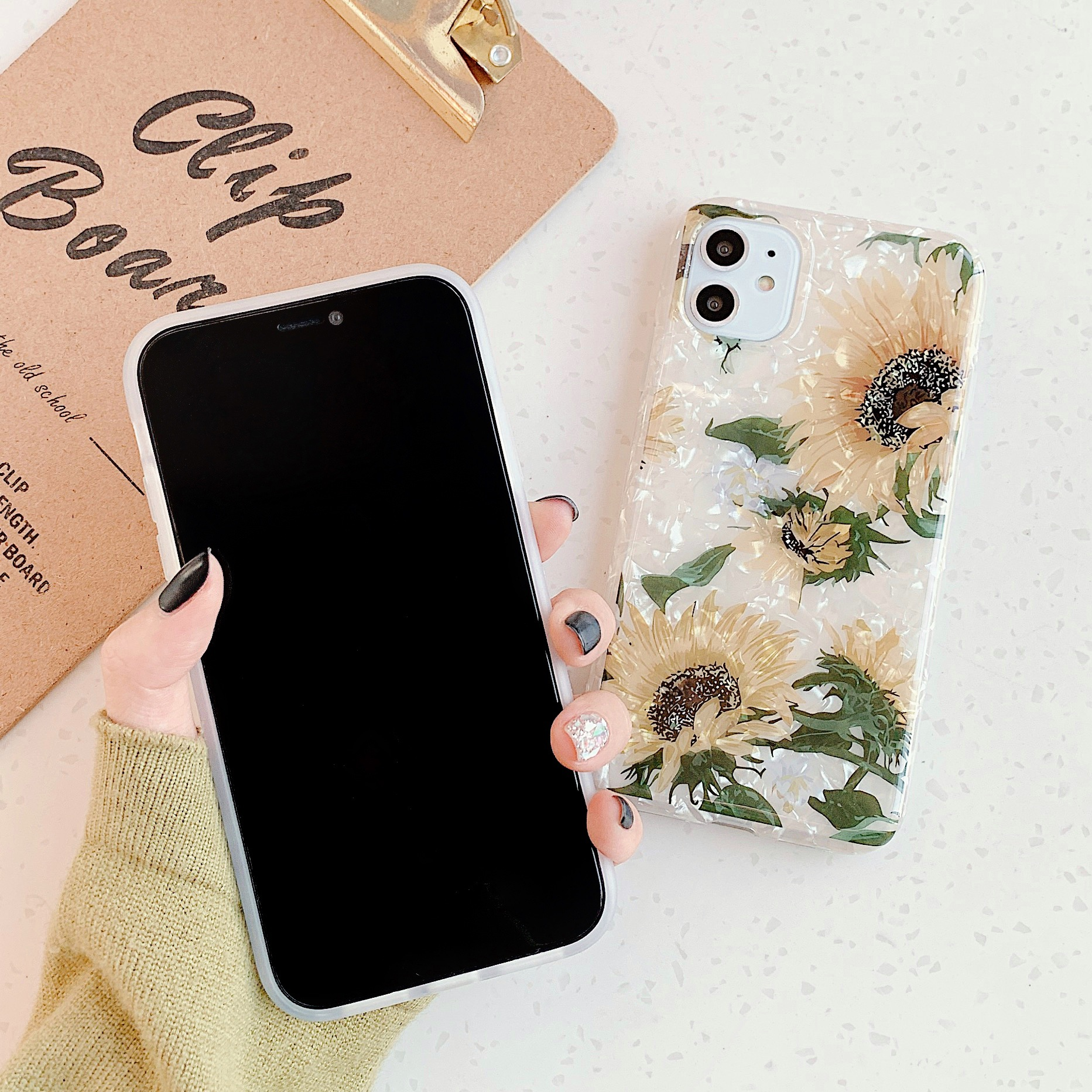 Fashional Sunflower Shell Pattern Colorful Flower IMD Mobile Phone Protective Case TPU For Iphone 3