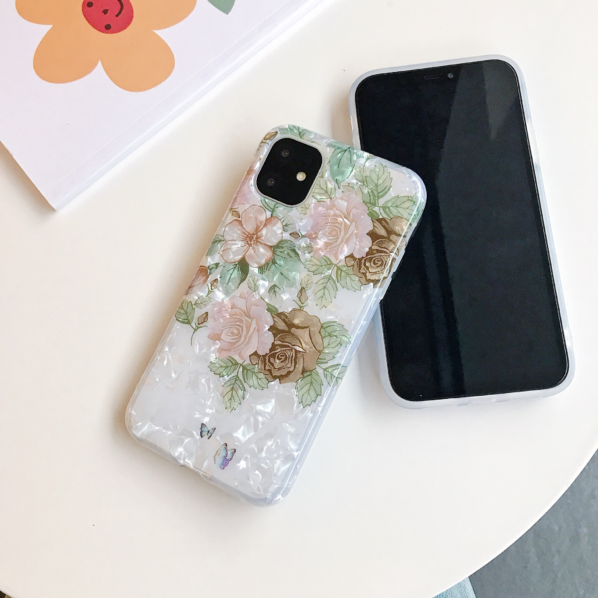 Fashional Sunflower Shell Pattern Colorful Flower IMD Mobile Phone Protective Case TPU For Iphone 1