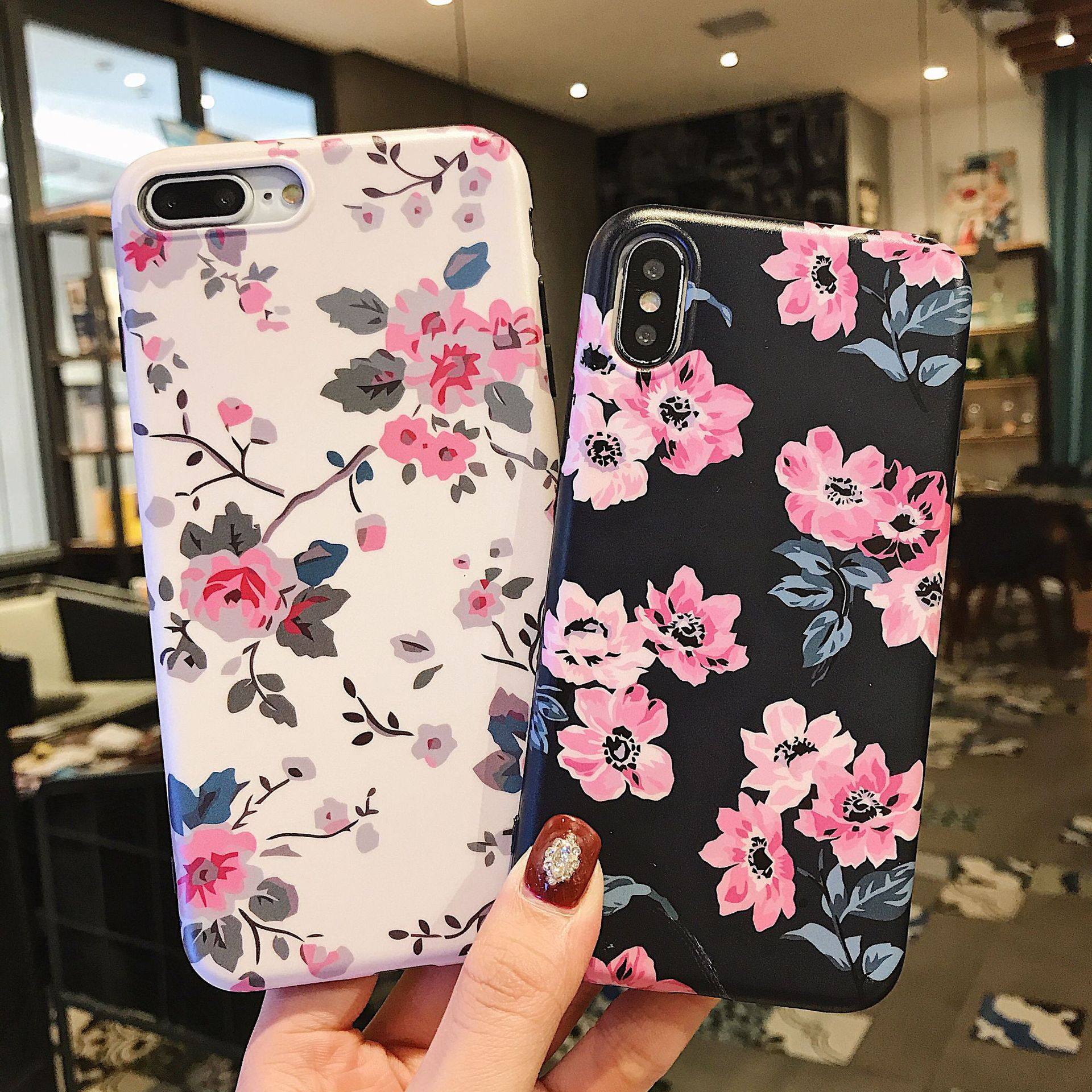 Classic Retro Flower Series Lmd Craft Anti-falling Edge TPU Soft Shell Mobile Phone Protective Cover For Iphone 6