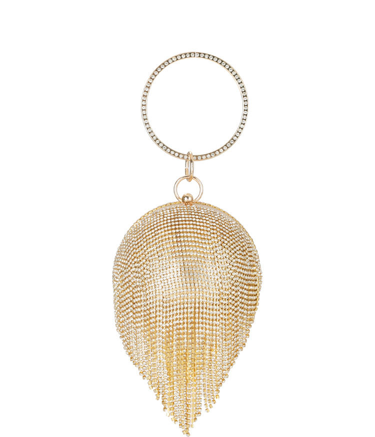 New Style Dinner Bag Lady Handbag Round Rhinestone Tassel Banquet Bag in hand Dress Evening Bag MOQ 1PCS 2