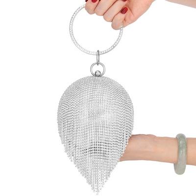 New Style Dinner Bag Lady Handbag Round Rhinestone Tassel Banquet Bag in hand Dress Evening Bag MOQ 1PCS 3