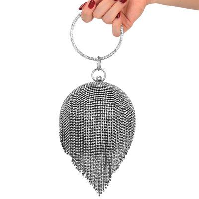 New Style Dinner Bag Lady Handbag Round Rhinestone Tassel Banquet Bag in hand Dress Evening Bag MOQ 1PCS 4